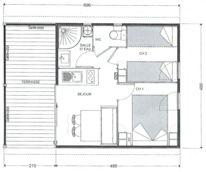 plan de bungalow de 20m2. Black Bedroom Furniture Sets. Home Design Ideas